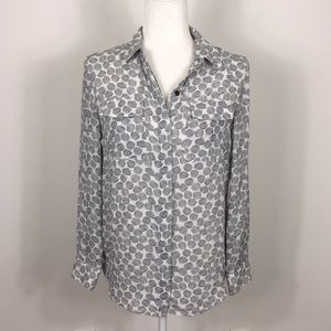 Halogen Patterned Long Sleeve Button Down Blouse